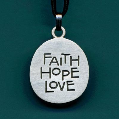 Pewter Faith Hope Love Pendant