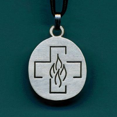 Pewter Pentecost Cross Pendant
